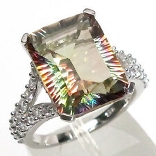 COOL 10 CT NATURAL YELLOW FIRE MYSTIC QUARTZ 925 STERLING SILVER RING SIZE 7