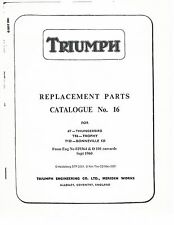 Triumph Parts Manual Book 1960, 1961 & 1962 Thunderbird 6T & Trophy TR6