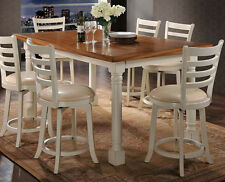NEW 7PC ARIANA DISTRESSED OAK ANTIQUE CREAM FINISH WOOD COUNTER DINING TABLE SET