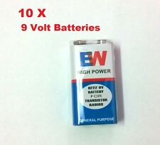 10 x 9 Volt 6F22 Zinc Chloride Batteries, Pack Of 10 Batteries...