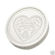 Katy Sue Designs Silicone CUPCAKE TOPPER MOULD LACE HEARTS Vintage Cake Decor