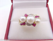 CULTURED AKOYA PEARLS 4.7 - 6.3 mm w/ NATURAL RUBIES and DIAMONDS 14K GOLD RING