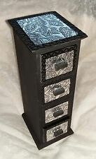 Vintage~Chest of wooden drawers hand decorated with silver embossed leaf design