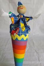 Vintage Peek-a-boo Pop-Up Wooden Cone Clown Puppet toy on Stick Cars Rainbow