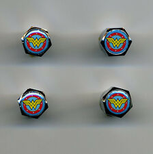 Wonder Woman Logo 4 Chrome Plated Brass Tire Valve Caps Car & Bike Wonder Woman
