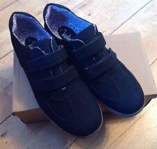 Para Mujeres Dr Keller Velc entrenador de zapatos talla 8 Negro Doble Velcro Pump LOOK de Gamuza