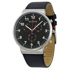 Skagen Ancher Chronograph Black Dial Black Leather Mens Watch SKW6100