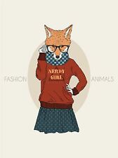 ART PRINT POSTER PAINTING DRAWING DESIGN FASHION ANIMALS NERDY FOX GIRL LFMP0609