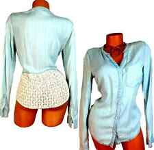 MAURICES LIGHT BLUE WOMEN'S PLUS SIZE LACE BUTTON DOWN LONG SLEEVES BLOUSE 3, 3X