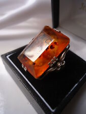FABULOUSLY RARE ANTIQUE ART NOUVEAU COLOSSAL RECTANGULAR SILVER & AMBER RING