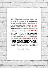 Mumford & Sons - The Wolf - Song Lyric Art Poster - A4 Size