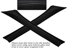 BLACK STITCH 2X A PILLAR LEATHER SKIN COVERS FITS BMW E36 SALOON 1991-1998