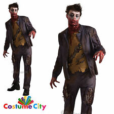 Men's Shaun Undead Walking Zombie Horror Fancy Dress Halloween Party Costume