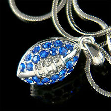 w Swarovski Crystal Blue 3D American FOOTBALL BALL Sports Pendant Charm Necklace