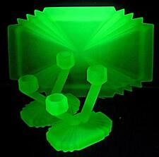 URANIUM GREEN GLASS BAGLEY BEDFORD DRESSING TABLE VANITY TRINKET CANDLE SET