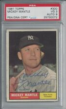 MICKEY MANTLE PSA/DNA CERTIFIED AUTHENTIC SIGNED 1961 TOPPS CARD #300 AUTOGRAPH