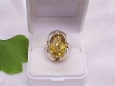 GELBGOLD-RING & CITRIN: 333er GOLD: HANDARBEIT: GR.: 53 / 16,8 mm
