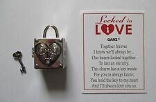 z I love you LOCKED IN LOVE box lock key charm Ganz Together Forever treasure