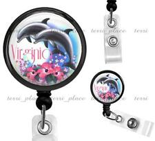 Custom Dolphins Personalized Clip On Retractable Identification Badge Reel ID09