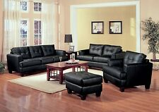 BLACK BONDED LEATHER SOFA  LOVE SEAT & CHAIR LIVING ROOM FURNITURE SET