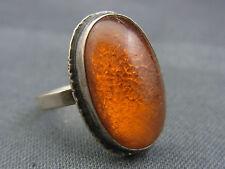 schöner alter 835/-Silber Ring  mit Bernstein signiert GK 27