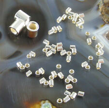100 ea CRIMP TUBE BEADS Sterling Silver 2x2mm