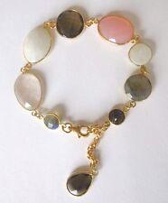 Edelsteinarmband, Mondstein, Rauchquartz, Labradorit 925 Silber vergoldet