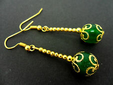 A PAIR OF DANGLY GREEN JADE  BEAD GOLD PLATED DROP EARRINGS.