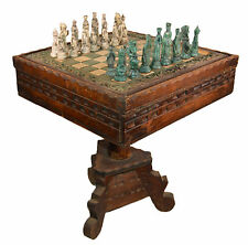 "Antique ANRI LOWE Chess Set Bakelite ? Original Hand Carved 23"" Wooden Table"