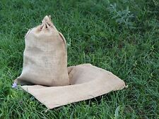 "3 Burlap Bags with Natural Jute Drawstring - 18"" x 24"" - Gunny Sack Race Bag"