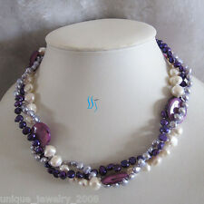 "18"" 3Row 5-20 Multi Color Freshwater Pearl Necklace Purple"