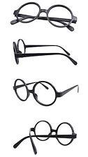 Halloween Costume Eyewear Frame Wizard Round Vintage Nerd Matte Black NO LENS