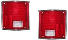 Tail lights Lens Only Chevy Gmc Truck 1973-1987 Pair Left/Right Chrome Trim