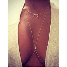 Moon Lucky Sauqre Crystal Pendant Layered Long Necklace Vintage Women Jewelery