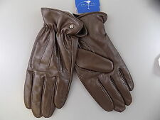 RYAN SEACREST $125 MEN'S CASUAL GLOVES POLYESTER FLEECE Leather SIZE M Brown S07