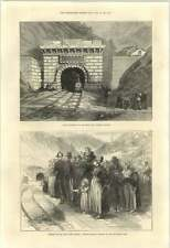 1871 Mont Cenis Tunnel Country People Waiting North Entrance Modan