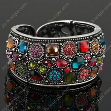 multicolor Vintage rhinestone crystal bangle fashion bracelet cuff jewelry gift