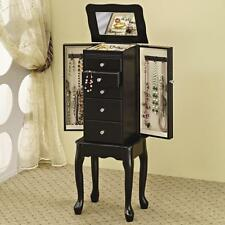 Black Finish Queen Anne Style Jewelry Storage Armoire by Coaster 900139