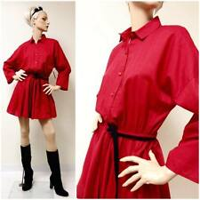 RARE Vintage 80s Rockabilly Shirtwaist Dress Mini Red Long Slv Drape Full L/XL
