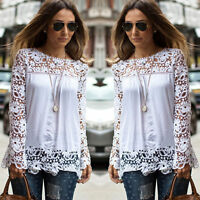 Women's Embroidery Casual Long Sleeve Shirt Tops Loose Blouse Ladies Lace Casual