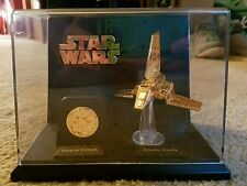 RARE STAR WARS MICRO MACHINES 24k GOLD IMPERIAL SHUTTLE W/EMBLEM & DISPLAY CASE