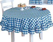 "NEW Samantha Checked Ruffled Gingham Blue Tablecloth  70"" Round"