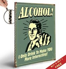 Funny ALCOHOL SIGN RETRO POSTER * A4 Thick Board VINTAGE Pub Bar Wall Decor Gift