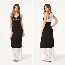 BEBE BLACK WHITE CROCHET DETAIL LOGO CRYSTAL MAXI DRESS $79 NEW XSMALL XS