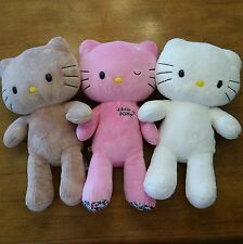 BUILD A BEAR HELLO KITTY Lot 3 Stuffed Plush Sanrio White Brown Tan Pink Clothes