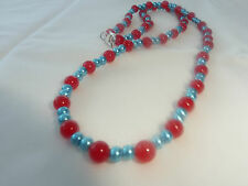 Hand Made Ladies Jewellery Blue Faux Pearl & Red Glass Bead Necklace - 22 inches
