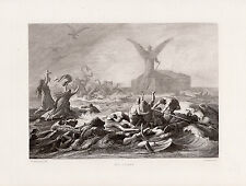 """Awesome 1800s KAULBACH Antique Engraving """"ANGELS Protecting the Ark"""" SIGNED COA"""