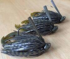 3 Custom Bass Brush Jigs (Green Pumpkin) 1/4 oz