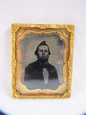 Antique Ambrotype Picture Gentleman Tintype with Foil Frame Tiny 1860s