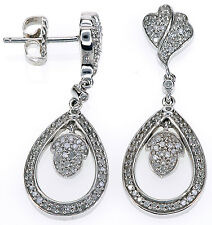 Affinity Diamond 1/2 Ct tw Diamond Sterling Silver Pear Drop Dangle Earrings